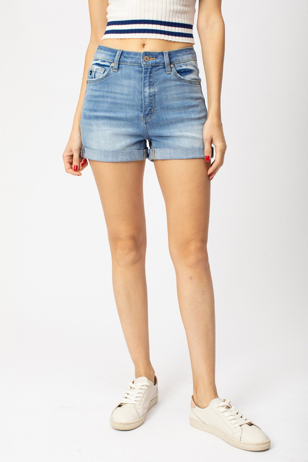 KanCan Hazel Cuffed High Rise shorts - Front Cropped Image