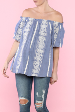 Shoptiques Product: Blue Off-Shoulder Top