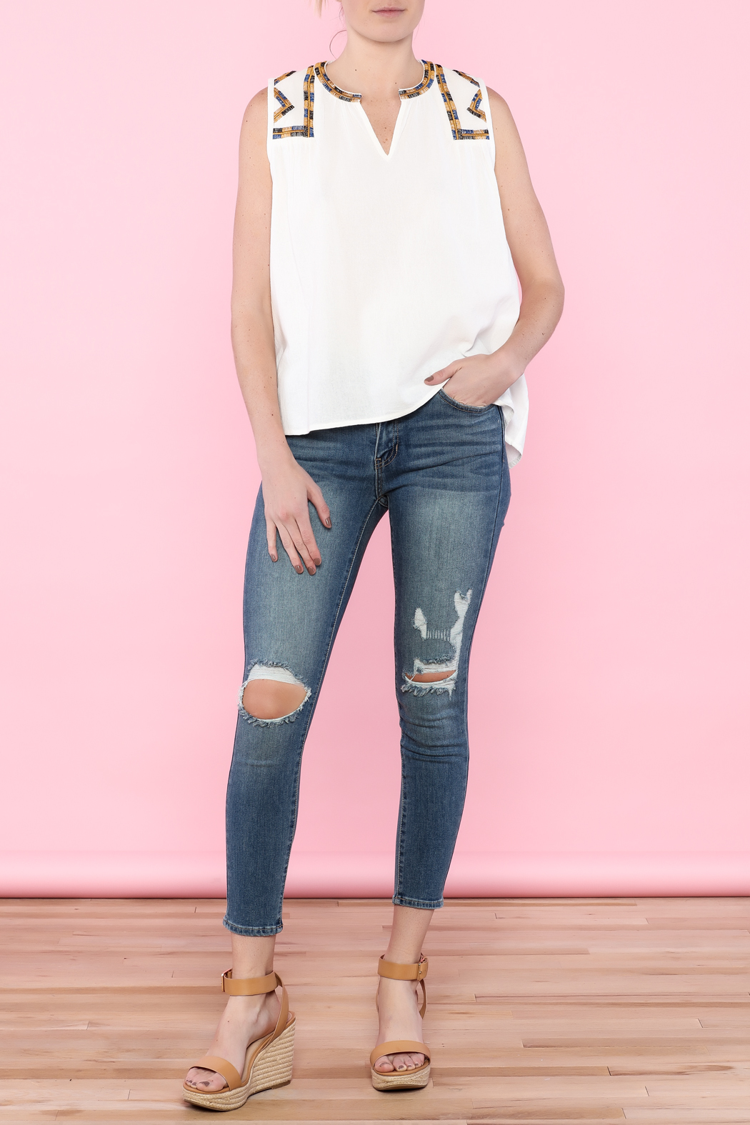 Hazel White Sleeveless Top - Front Full Image