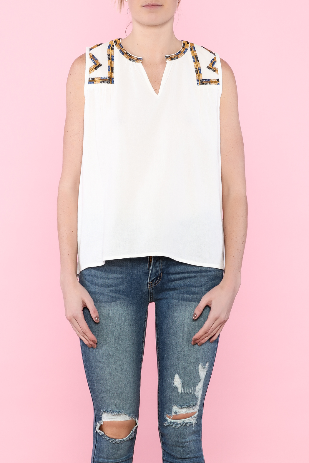 Hazel White Sleeveless Top - Side Cropped Image