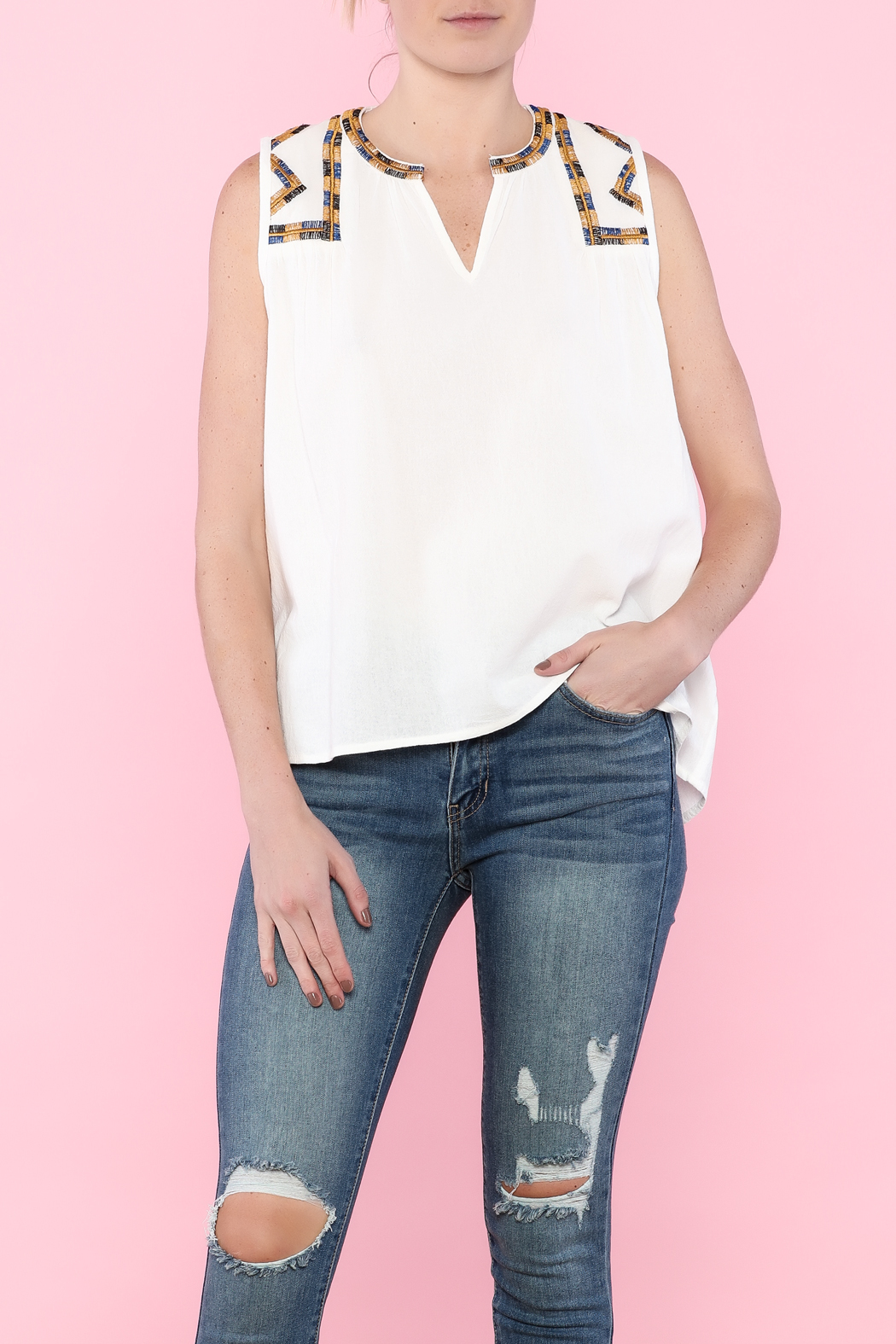 Hazel White Sleeveless Top - Main Image