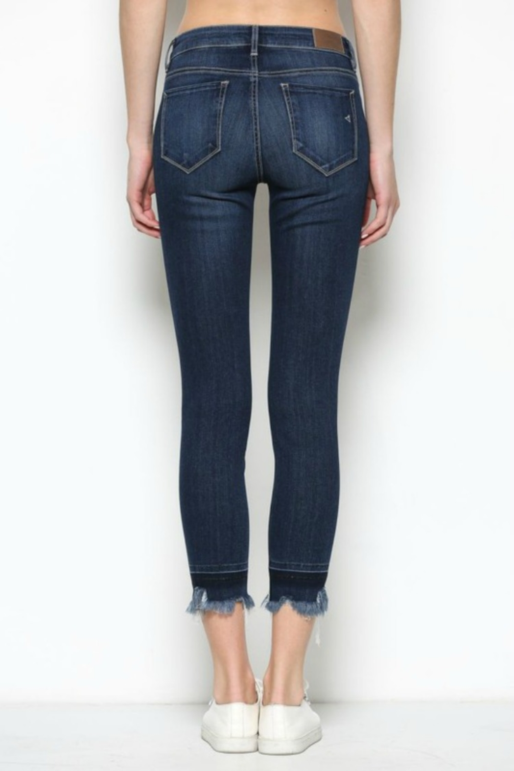 Hidden Jeans HD7452-DK  Dark Wash Released Frayed Hem Skinny - Back Cropped Image