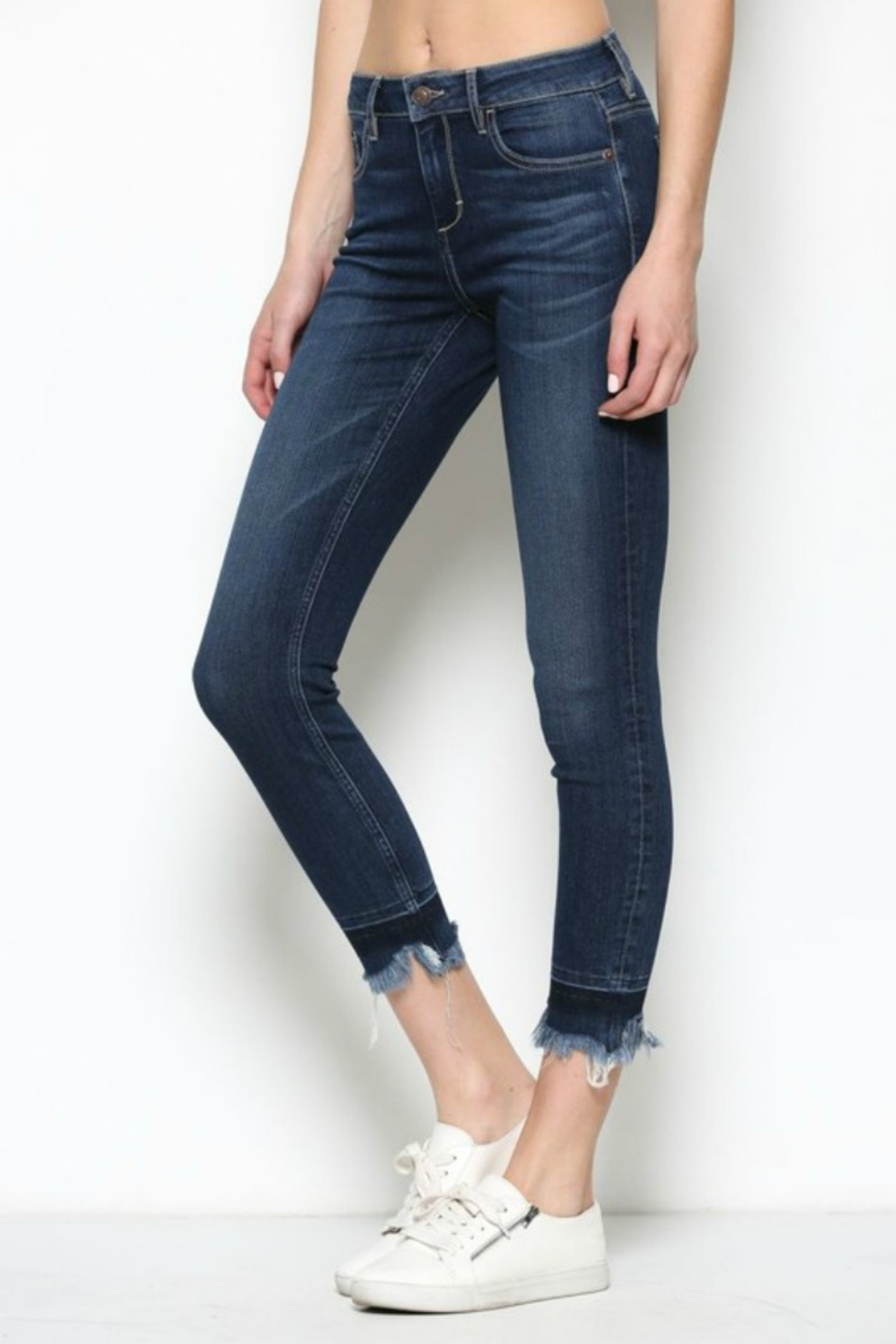 Hidden Jeans HD7452-DK  Dark Wash Released Frayed Hem Skinny - Side Cropped Image