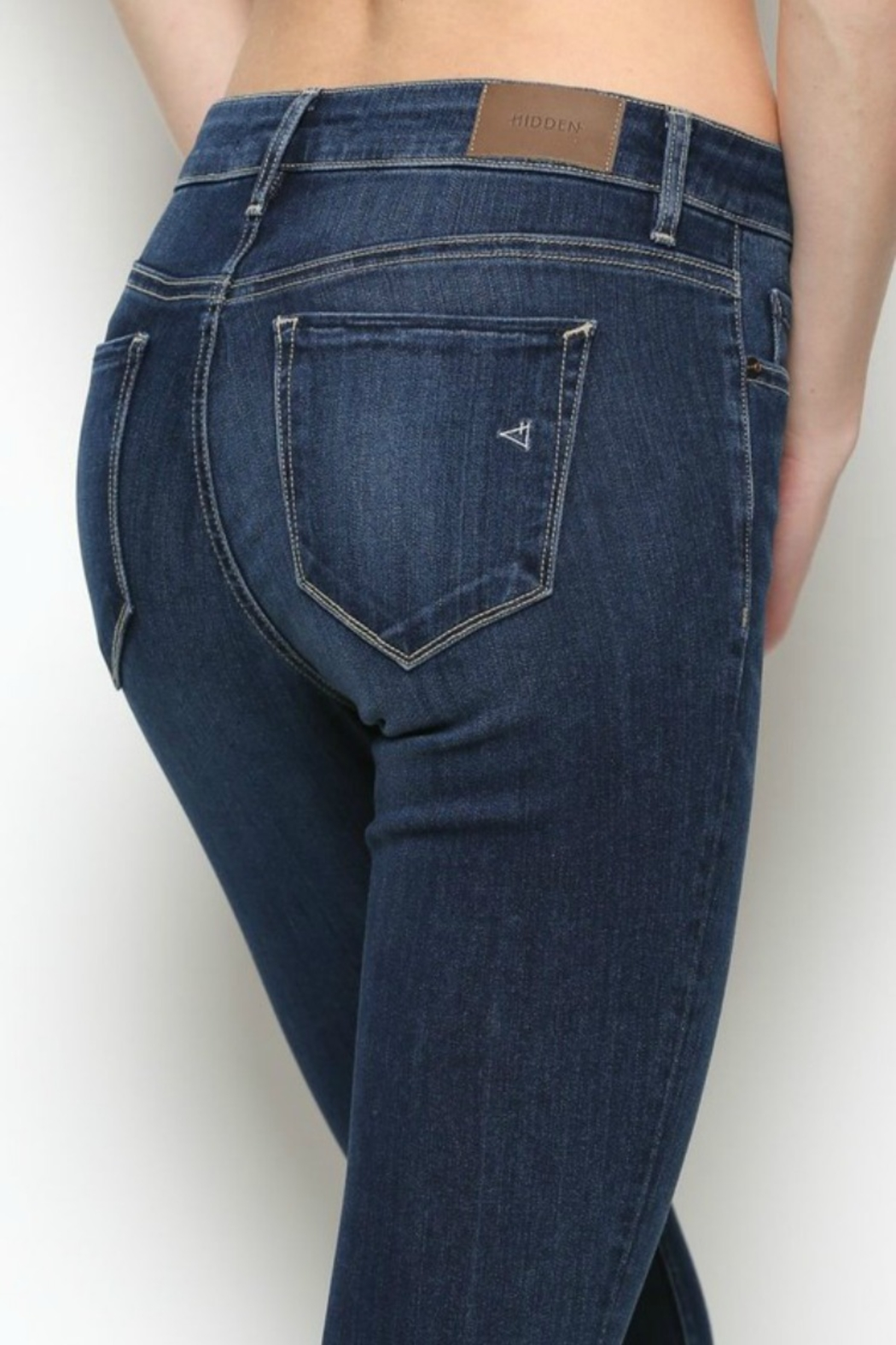 Hidden Jeans HD7452-DK  Dark Wash Released Frayed Hem Skinny - Front Full Image