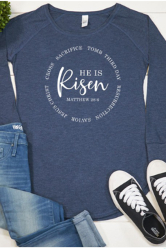 kissed Apparel He is Risen Long Sleeve Tshirt - Alternate List Image