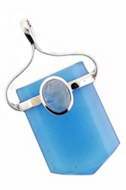 Crystal Earth Healer Point Chalcedony Pendant - Product Mini Image