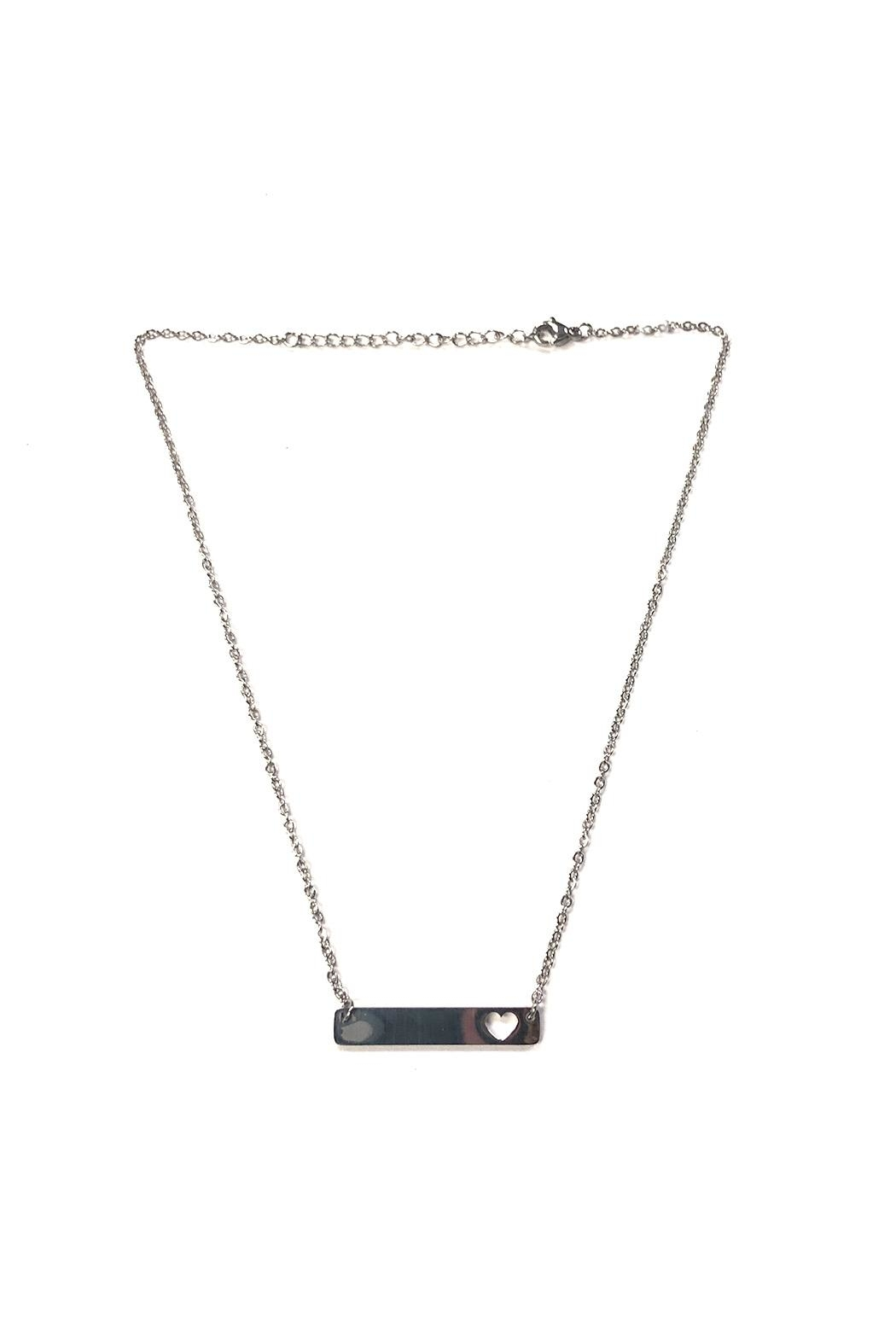 Lets Accessorize Heart Bar Necklace - Front Cropped Image