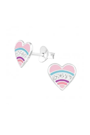 Silver Jewels Heart Crystal Silver Stud Earrings - Front cropped