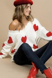 Main Strip Heart Distressed Sweater - Front cropped