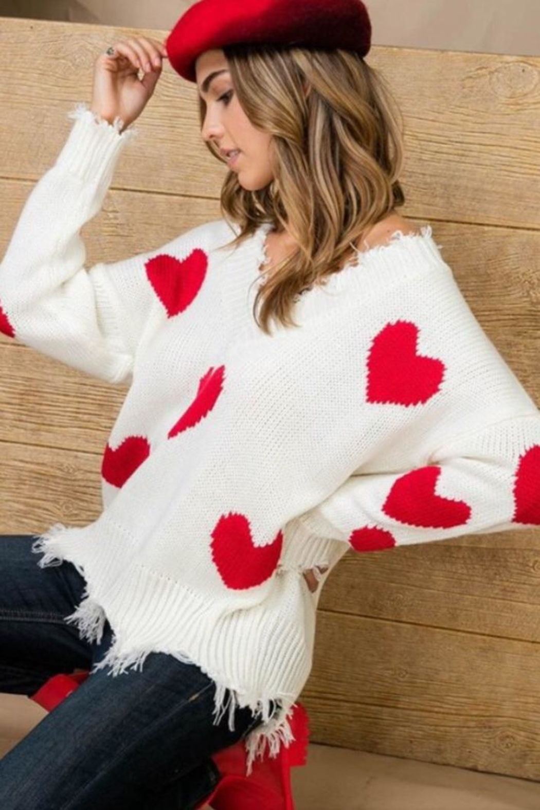 Main Strip Heart Distressed Sweater - Side Cropped Image