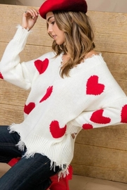 Main Strip Heart Distressed Sweater - Side cropped