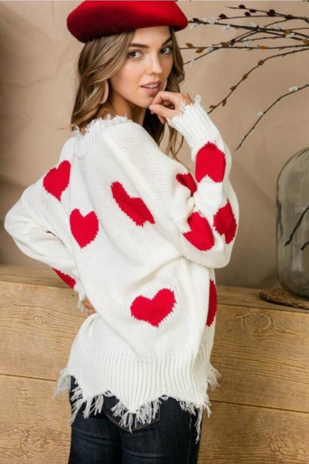 Main Strip Heart Distressed Sweater - Front Full Image