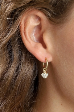 Pilgrim Heart-Drop Gold-Plated Earrings - Product List Image