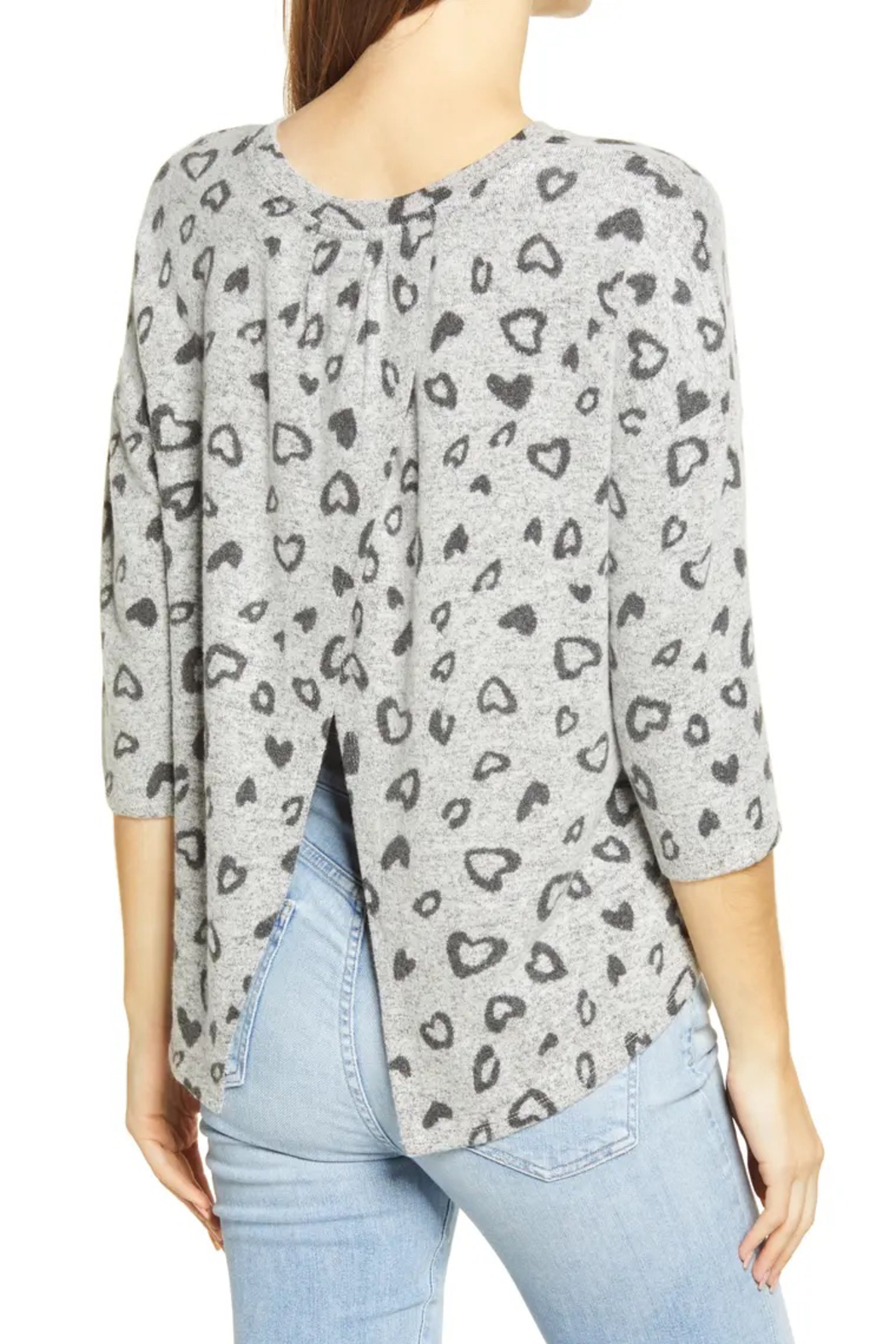 Bobeau Heart Hacci Knit Top - Front Full Image