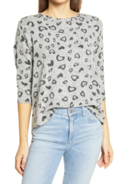 Bobeau Heart Hacci Knit Top - Front cropped