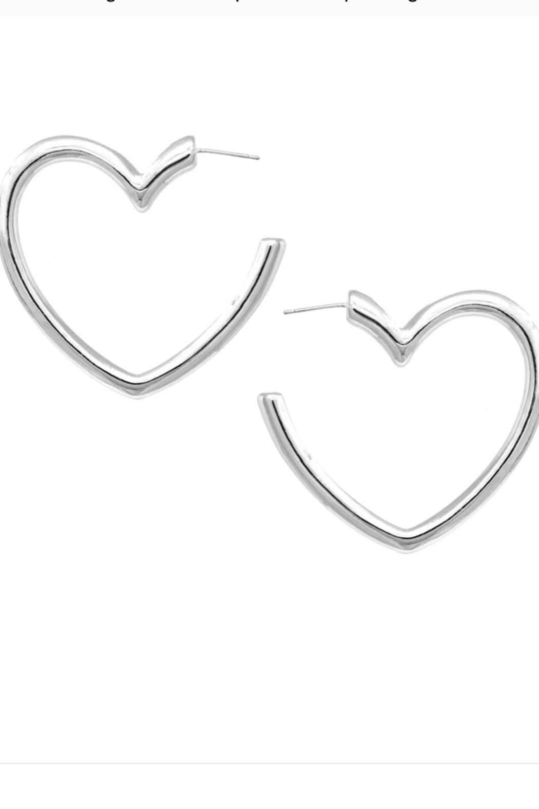US Jewelry House Heart Hoop Earrings - Front Cropped Image
