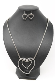 Nadya's Closet Heart Hoops Necklace-Set - Product Mini Image