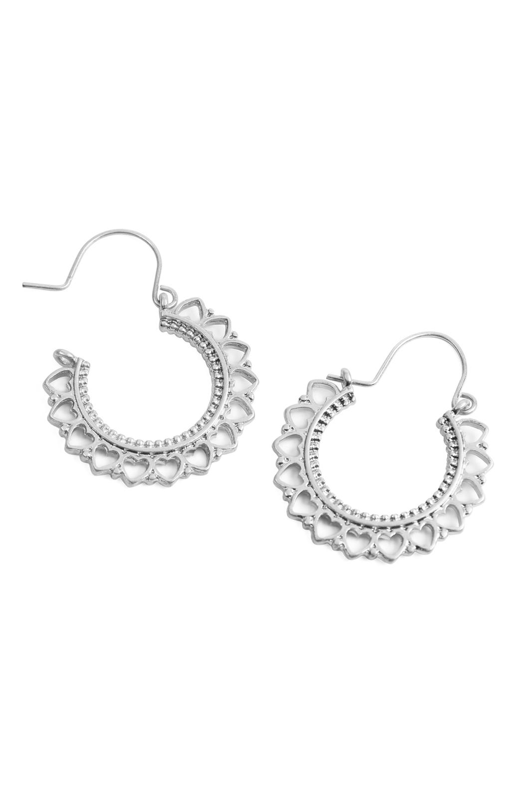 Riah Fashion Heart-Metal-Cast Hoop-Earrings - Front Full Image