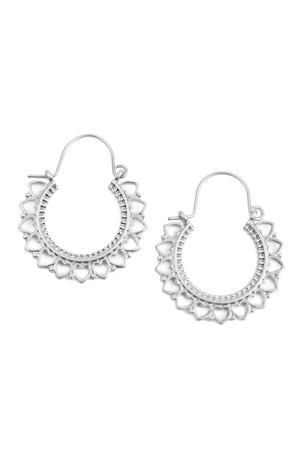 Riah Fashion Heart-Metal-Cast Hoop-Earrings - Front Cropped Image
