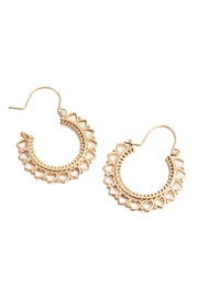 Riah Fashion Heart-Metal-Cast Hoop-Earrings - Front full body