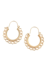 Riah Fashion Heart-Metal-Cast Hoop-Earrings - Front cropped
