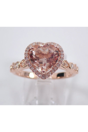 Margolin & Co Heart Morganite and Diamond Halo Engagement Ring Rose Gold Size 7 Pink Aqua FREE Sizing - Product Mini Image