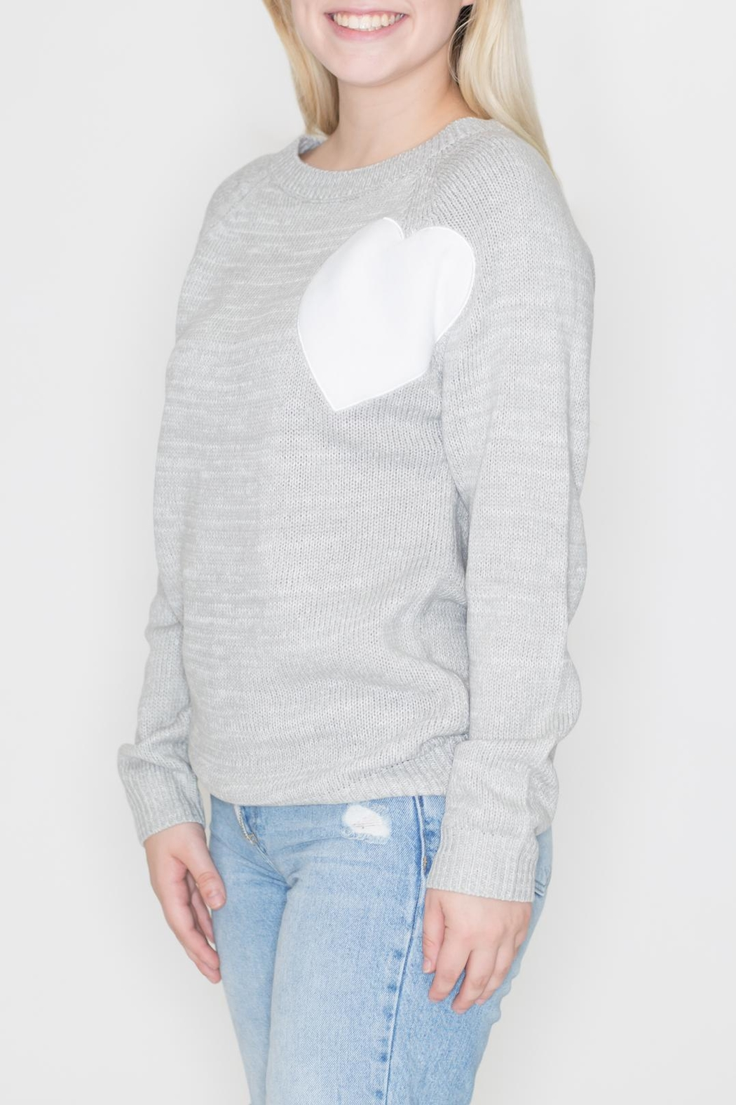 Cozy Casual Heart Patch Sweater - Front Full Image