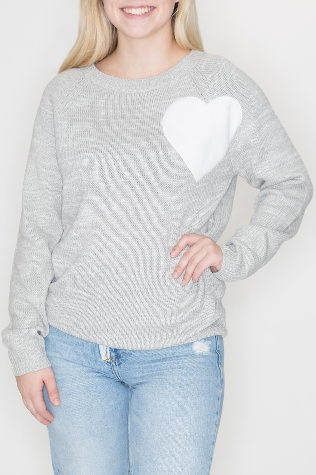 Cozy Casual Heart Patch Sweater - Main Image