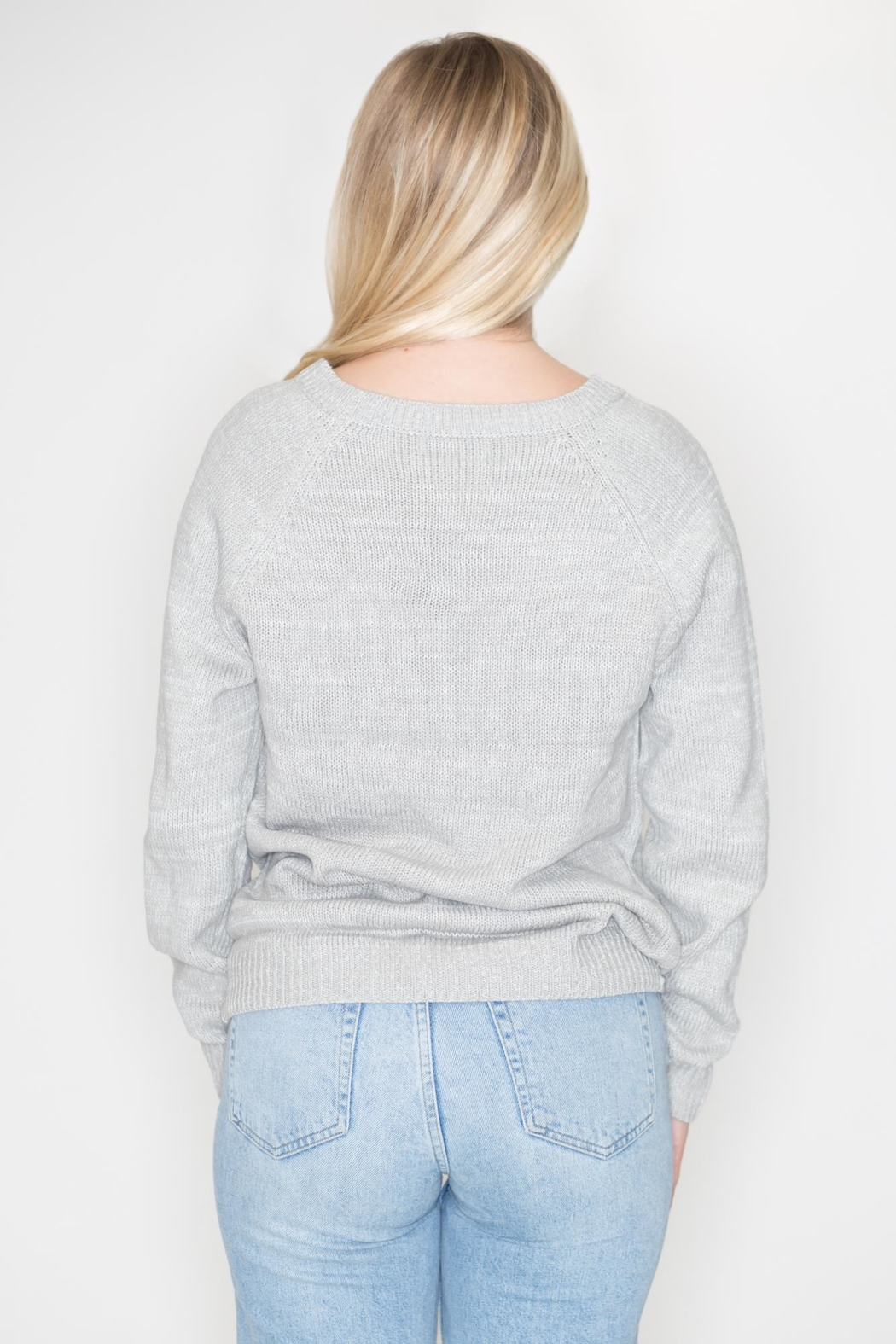 Cozy Casual Heart Patch Sweater - Side Cropped Image