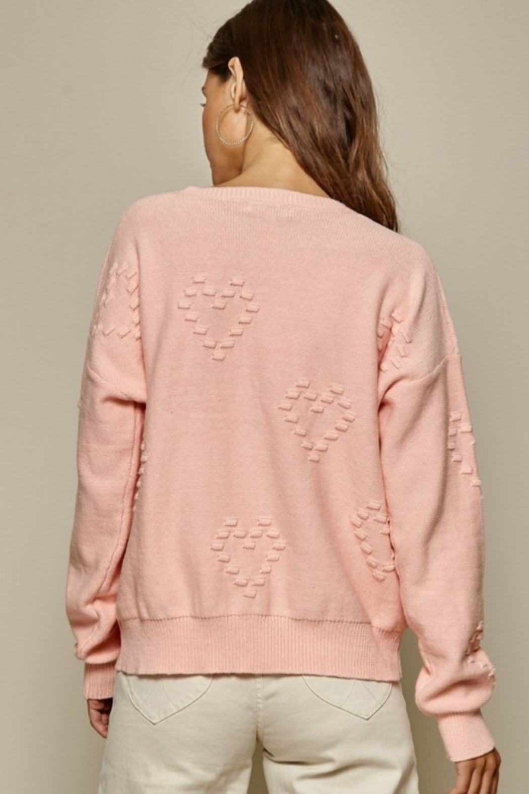 Andree by Unit Heart Pattern Sweater - Back Cropped Image