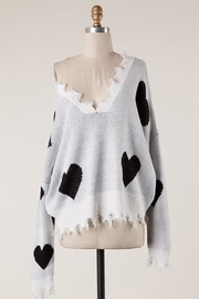 Fascination Heart Print Destroyed-Sweater - Product Mini Image