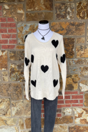 Esley Collection Heart Print Knit Sweater - Front full body