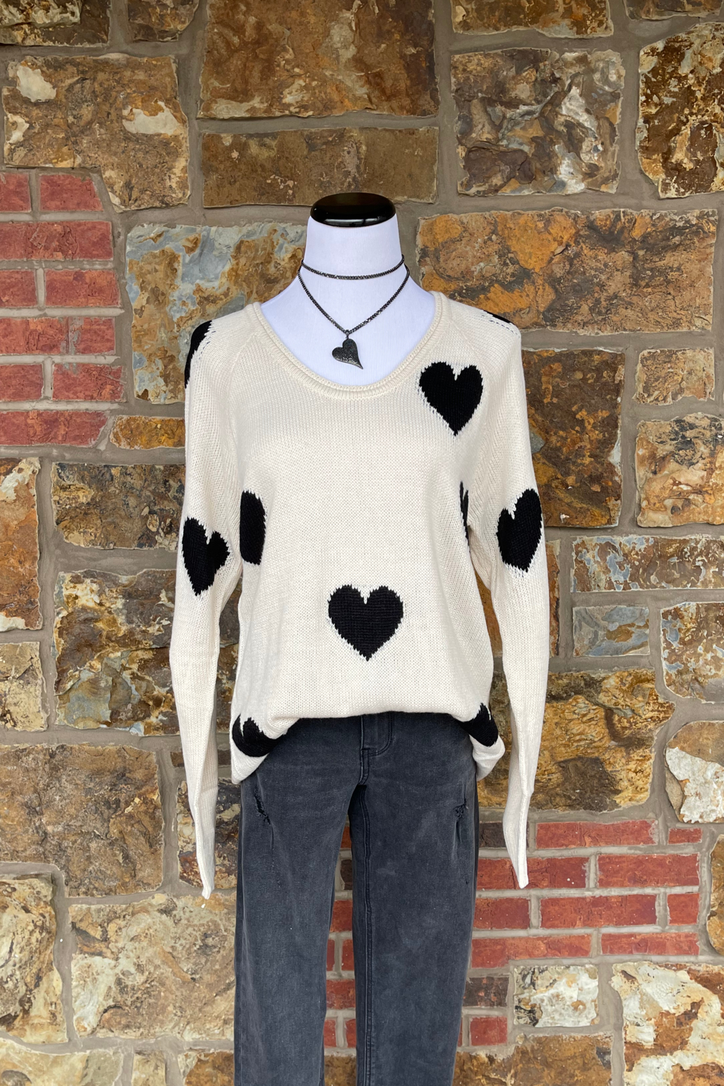 Esley Collection Heart Print Knit Sweater - Main Image