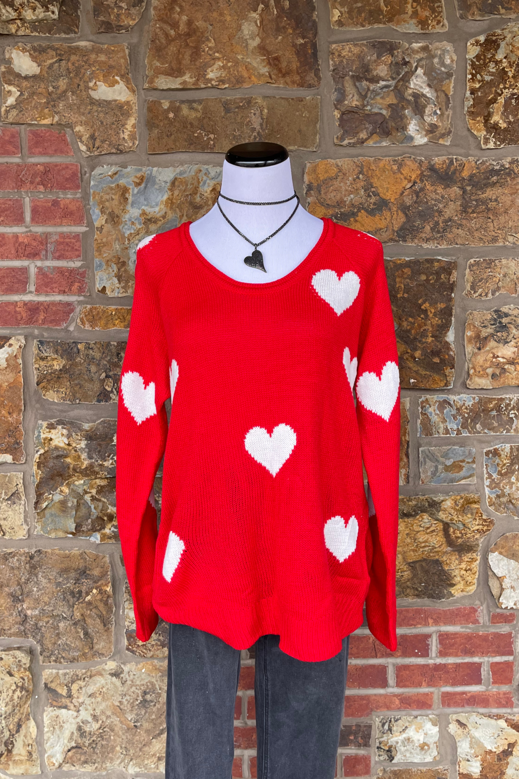 Esley Collection Heart Print Knit Sweater - Front Full Image