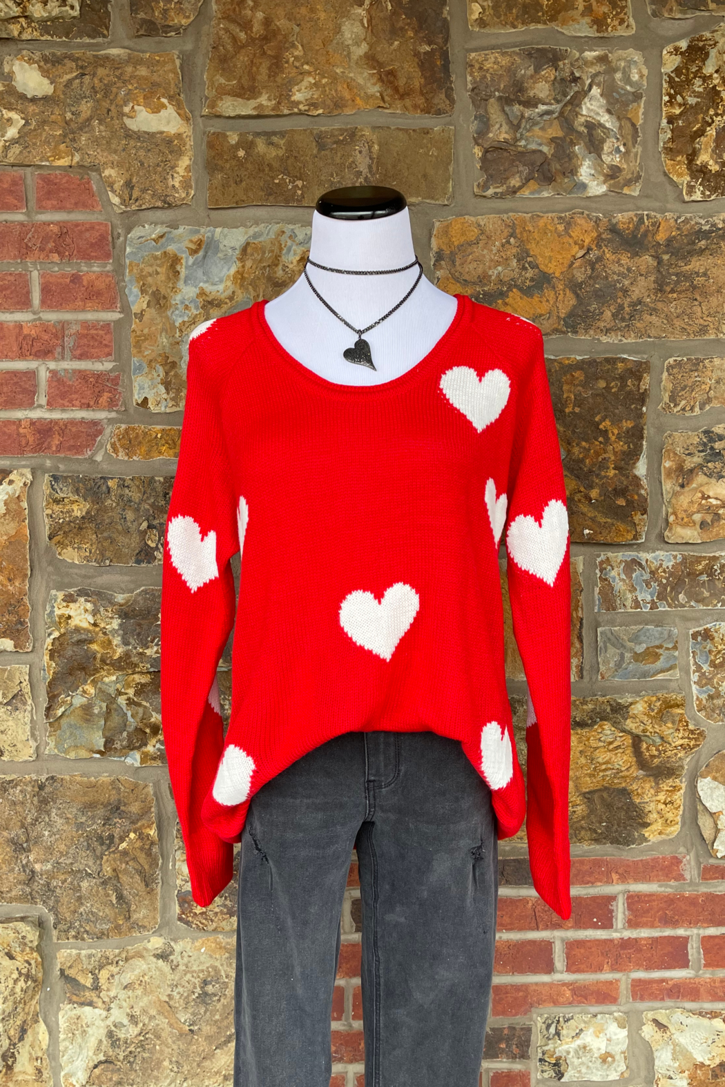 Esley Collection Heart Print Knit Sweater - Front Cropped Image