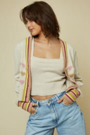 blue blush Heart Print Sweater Cardigan - Front cropped
