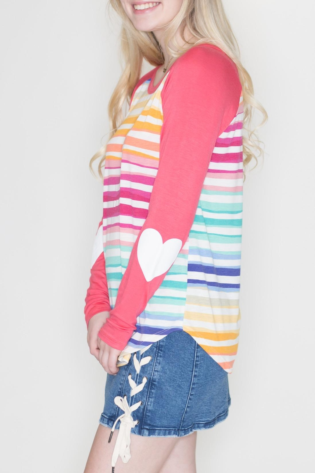 Fantastic Fawn Heart Sleeve Top - Front Full Image