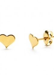 Amano Trading Heart Stud Gold Earrings - Front cropped