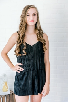 Heart & Hips Black Pleated Romper - Product List Image