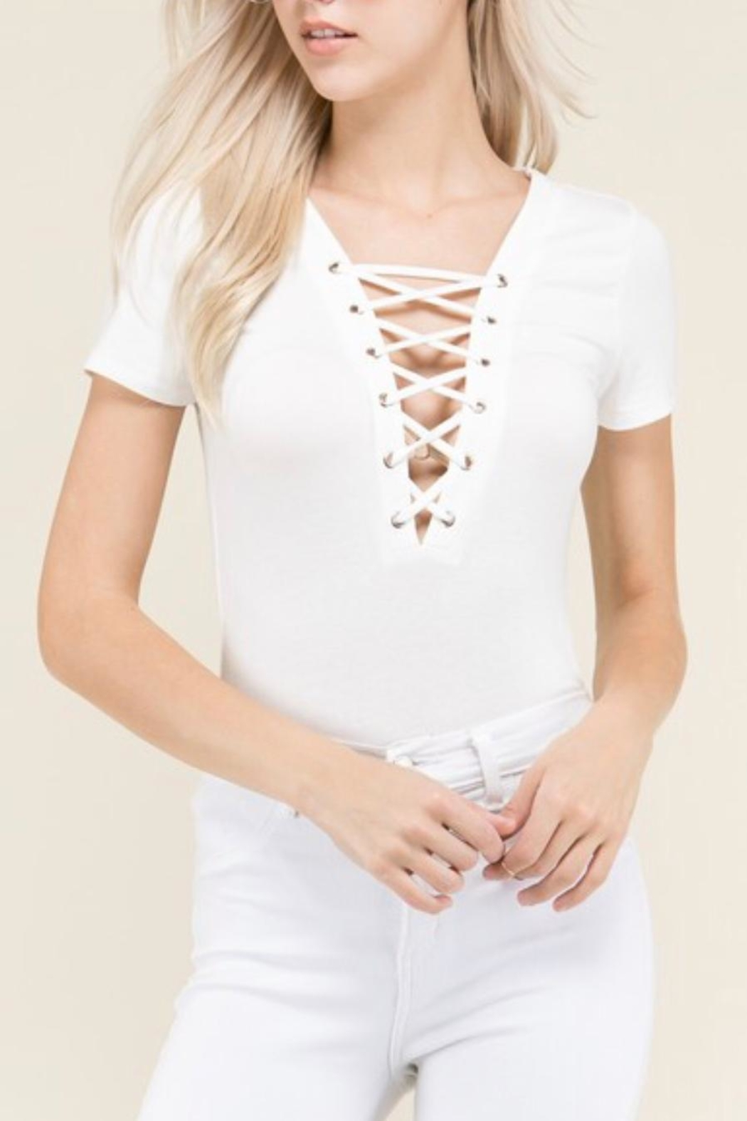 Heart & Hips Lace Up Bodysuit - Front Cropped Image