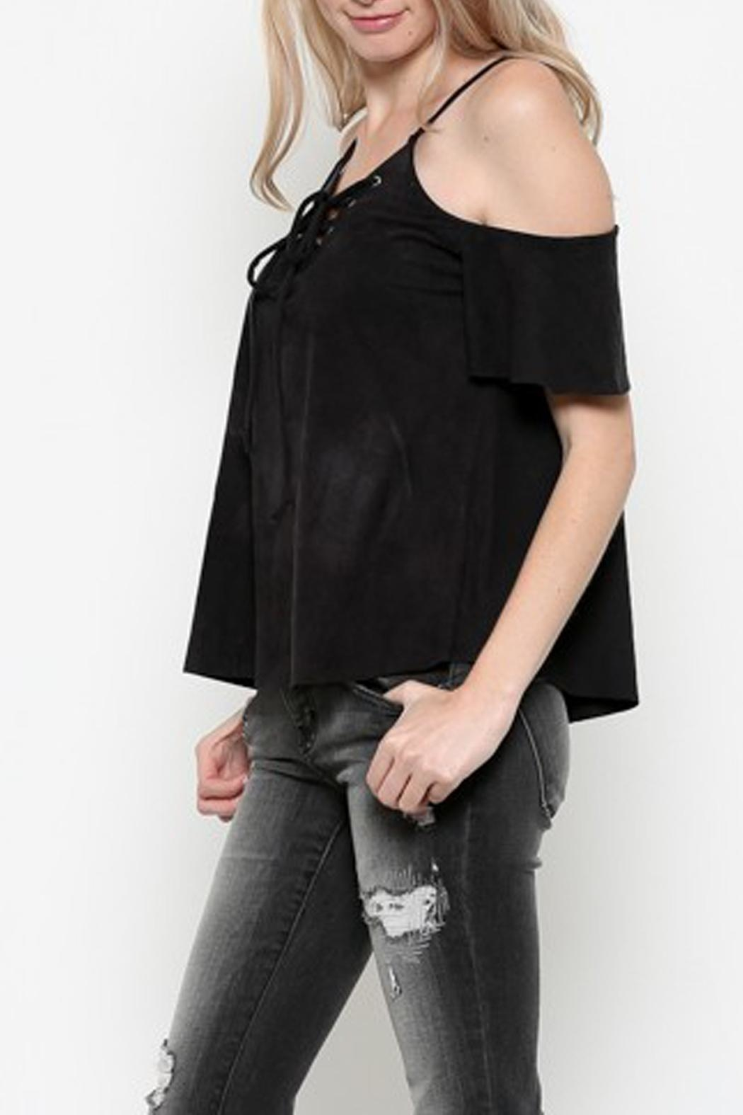 Heart & Hips Lace-Up Cold-Shoulder Top - Main Image