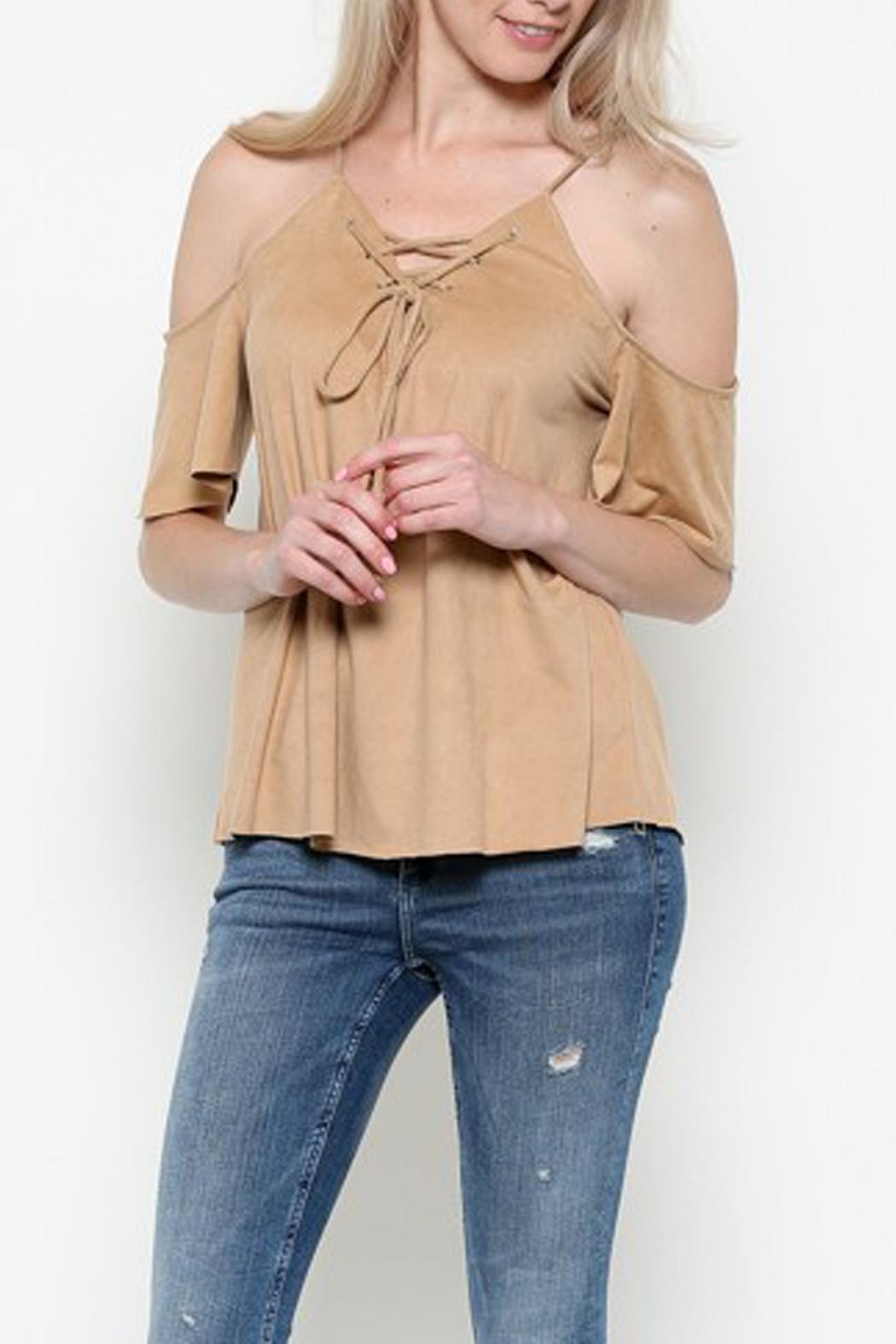 Heart & Hips Lace-Up Cold-Shoulder Top - Front Cropped Image
