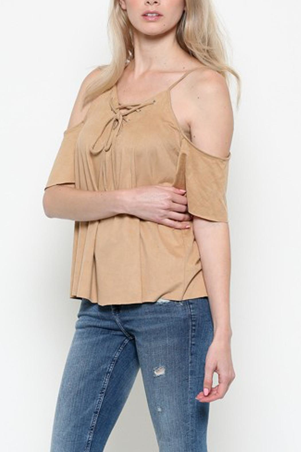 Heart & Hips Lace-Up Cold-Shoulder Top - Front Full Image