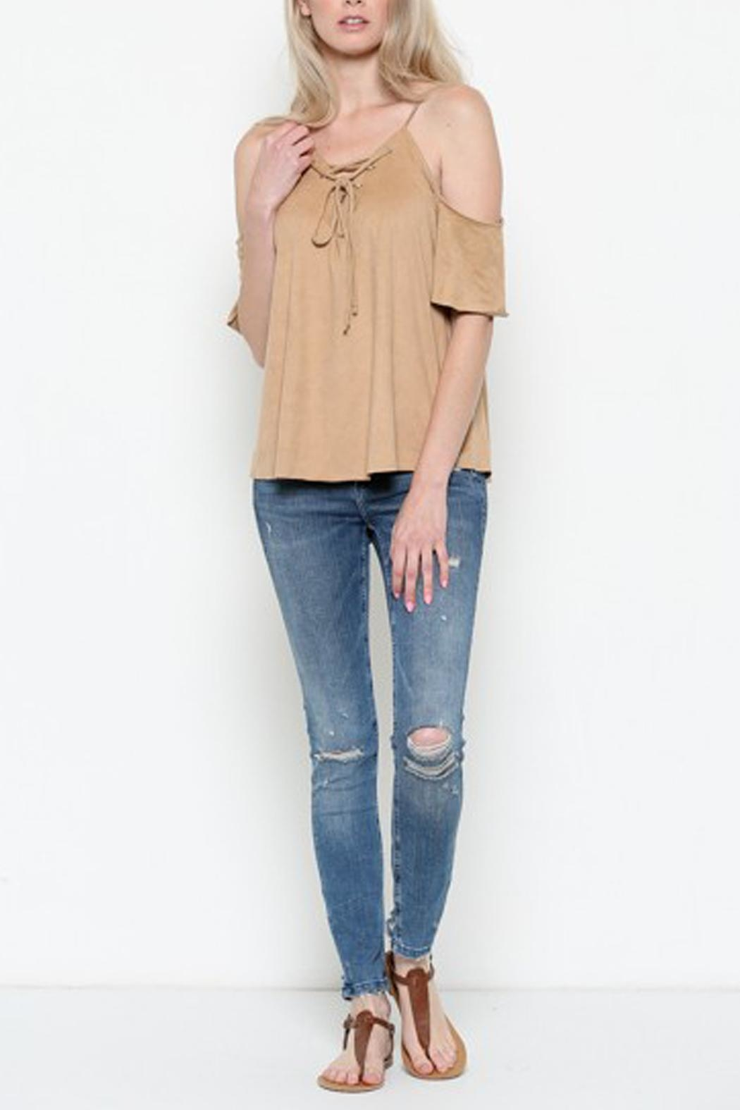 Heart & Hips Lace-Up Cold-Shoulder Top - Side Cropped Image