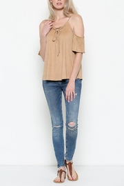 Heart & Hips Lace-Up Cold-Shoulder Top - Side cropped