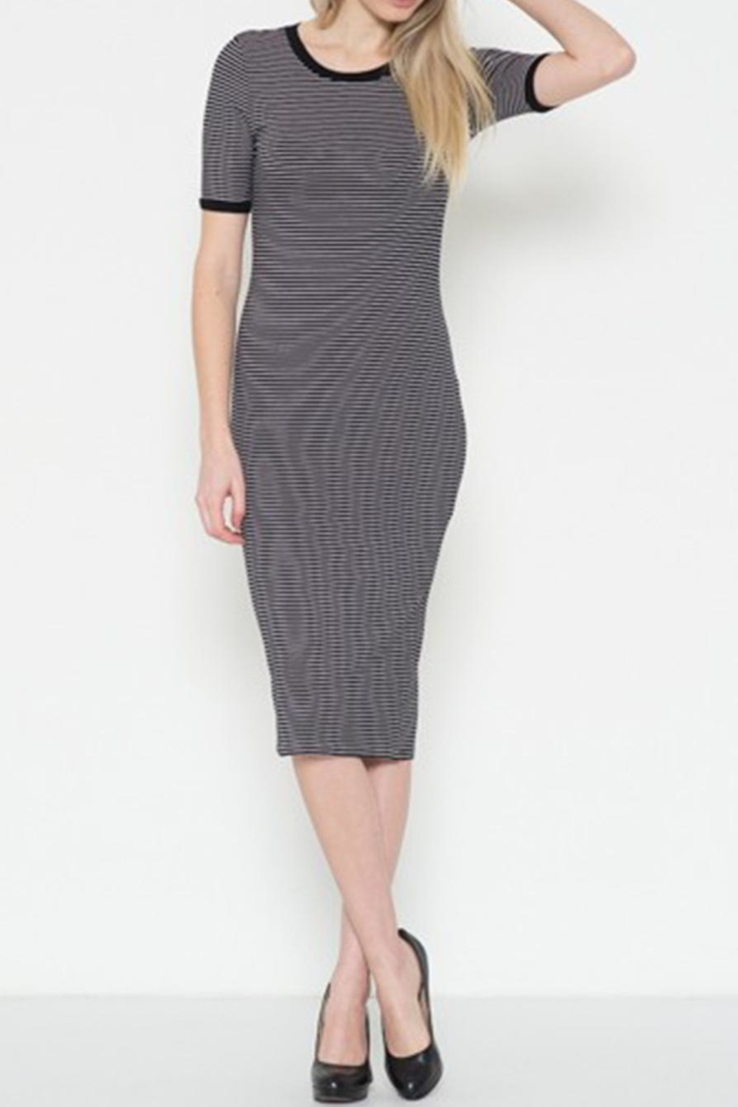 Heart & Hips Striped Midi Dress - Front Cropped Image