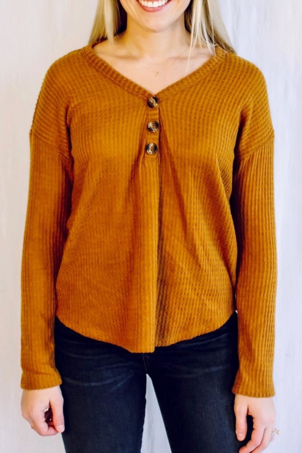Heart & Hips Waffle Knit Top - Front Cropped Image