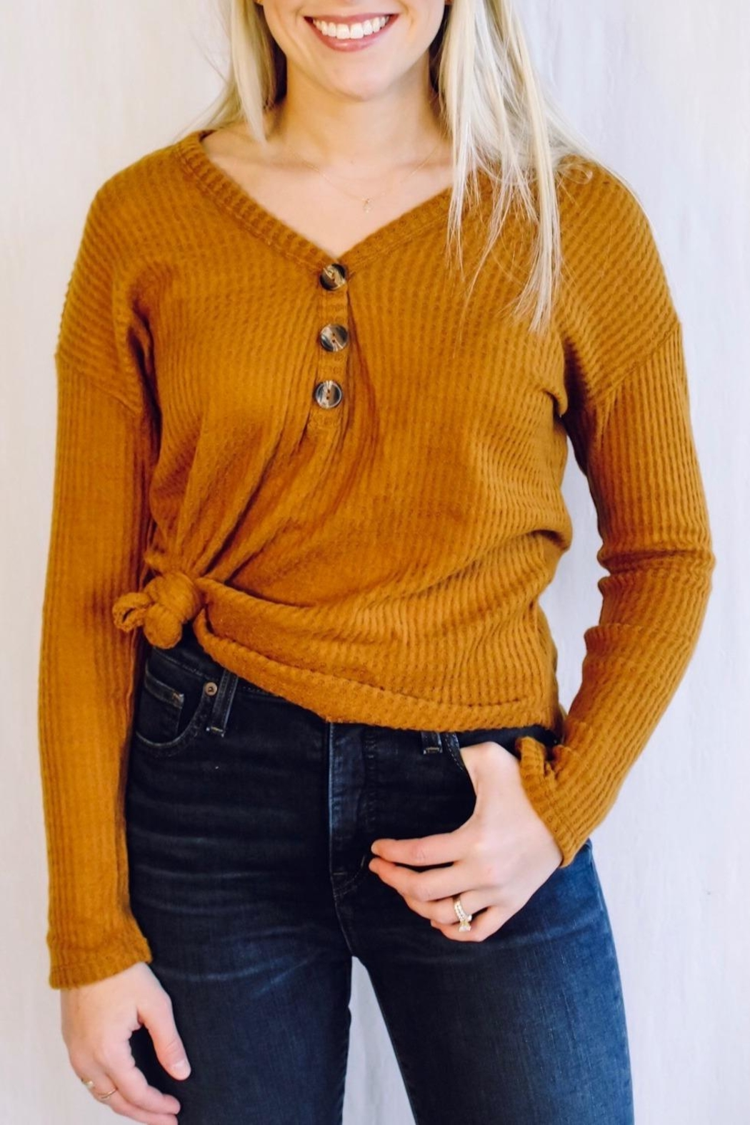 Heart & Hips Waffle Knit Top - Front Full Image