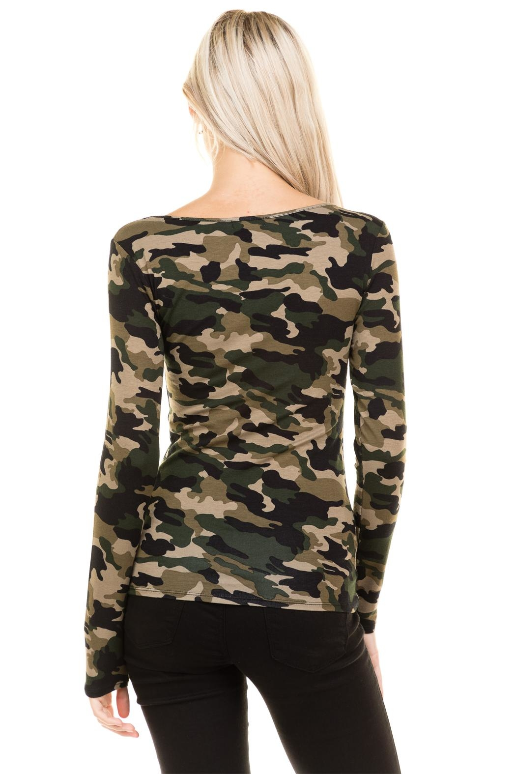 Heart and Hips CrissCross Camouflage Top - Back Cropped Image