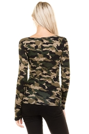 Heart and Hips CrissCross Camouflage Top - Back cropped
